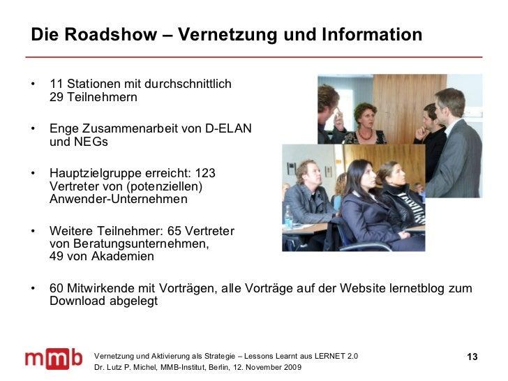 Die Roadshow – Vernetzung und Information <ul><li>11 Stationen mit durchschnittlich  29 Teilnehmern </li></ul><ul><li>Enge...