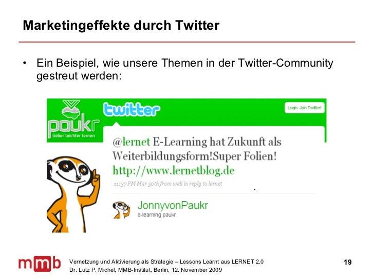 Marketingeffekte durch Twitter <ul><li>Ein Beispiel, wie unsere Themen in der Twitter-Community gestreut werden: </li></ul>.