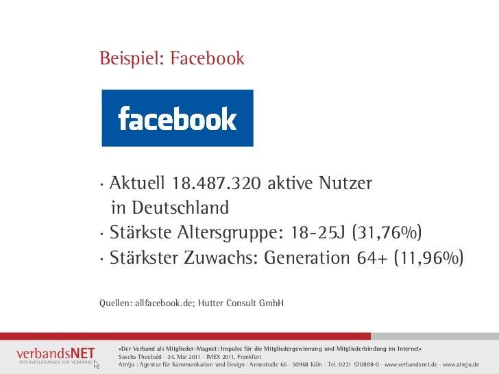 Beispiel: Facebook· Aktuell 18.487.320 aktive Nutzer  in Deutschland· Stärkste Altersgruppe: 18-25J (31,76%)· Stärkster Zu...