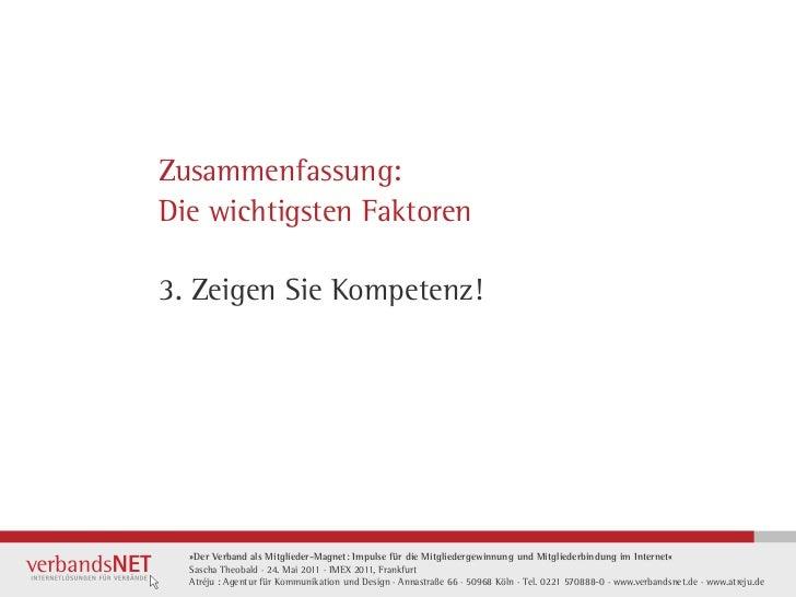Zusammenfassung:Die wichtigsten Faktoren3. Zeigen Sie Kompetenz!  »Der Verband als Mitglieder-Magnet: Impulse für die Mitg...