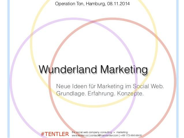 Wunderland Marketing Neue Ideen für Marketing im Social Web. Grundlage. Erfahrung. Konzepte. Operation Ton, Hamburg, 08.11...