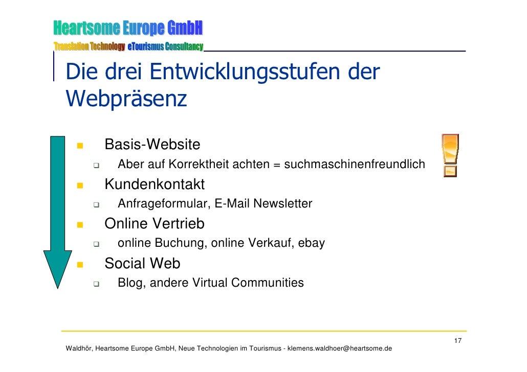 Die drei Entwicklungsstufen der Webpräsenz            Basis-Website               Aber auf Korrektheit achten = suchmaschi...