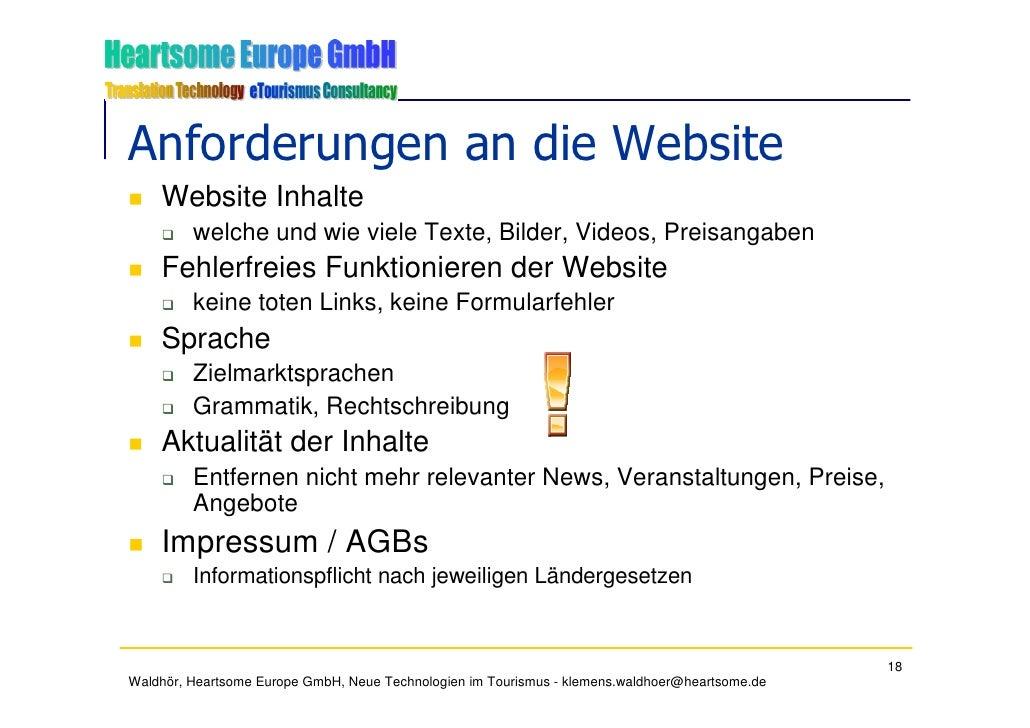 Anforderungen an die Website     Website Inhalte          welche und wie viele Texte, Bilder, Videos, Preisangaben     Feh...