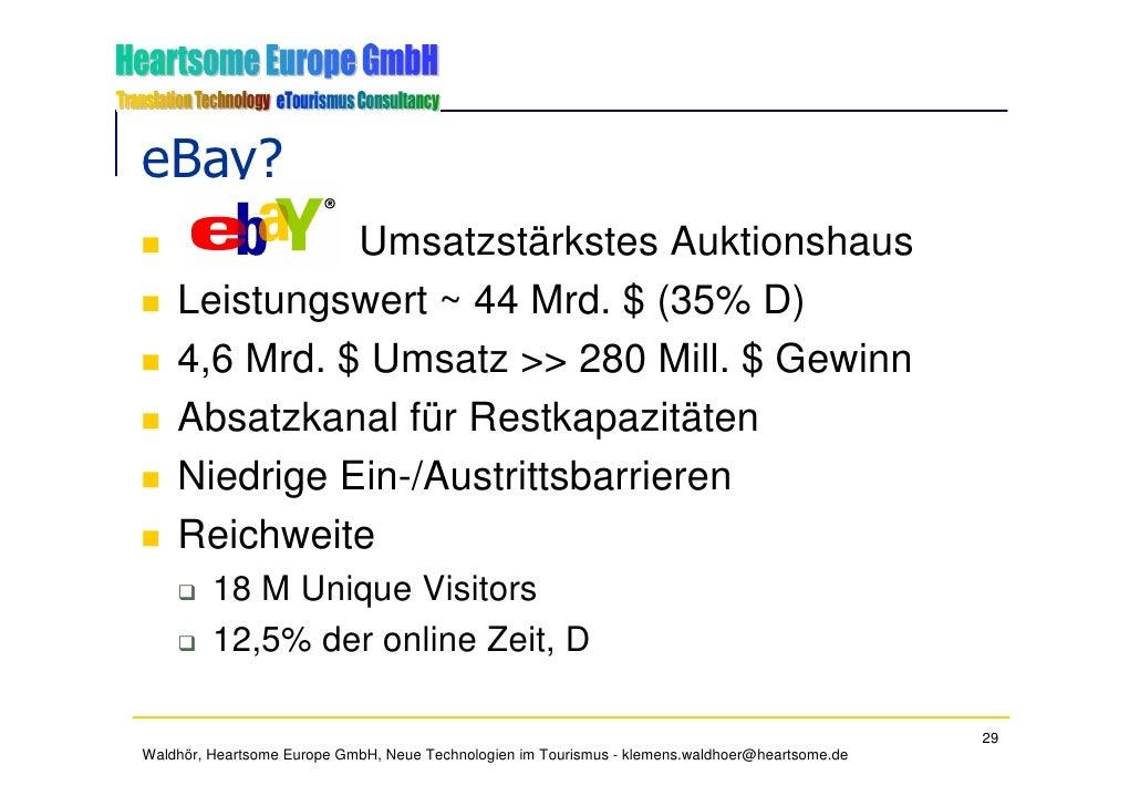eBay?               Umsatzstärkstes Auktionshaus     Leistungswert ~ 44 Mrd. $ (35% D)     4,6 Mrd. $ Umsatz >> 280 Mill. ...