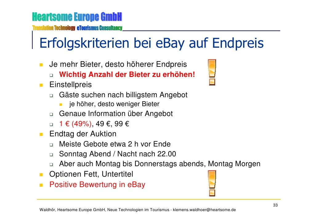 Erfolgskriterien bei eBay auf Endpreis     Je mehr Bieter, desto höherer Endpreis        Wichtig Anzahl der Bieter zu erhö...