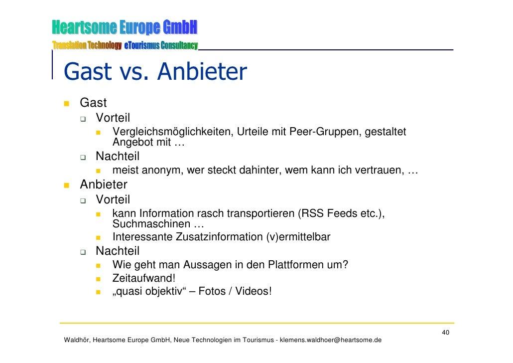 Gast vs. Anbieter     Gast       Vorteil               Vergleichsmöglichkeiten, Urteile mit Peer-Gruppen, gestaltet       ...