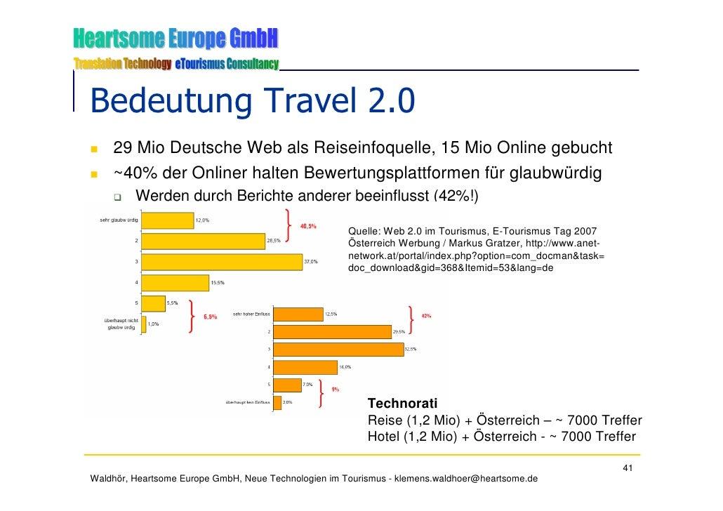 Bedeutung Travel 2.0     29 Mio Deutsche Web als Reiseinfoquelle, 15 Mio Online gebucht     ~40% der Onliner halten Bewert...