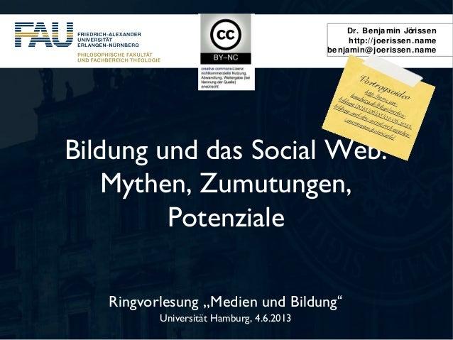 "Dr. Benjamin Jörissenhttp://joerissen.namebenjamin@joerissen.nameRingvorlesung ""Medien und Bildung""Universität Hamburg, 4...."