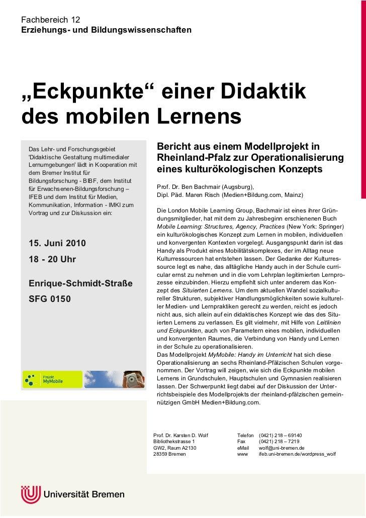 """Fachbereich 12 Erziehungs- und Bildungswissenschaften     """"Eckpunkte"""" einer Didaktik                                      ..."""