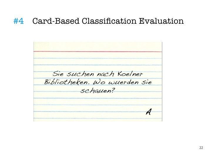 #4 Card-Based Classifcation Evaluation             Sie suchen nach Koelner       Bibliotheken. Wo wuerden sie             ...
