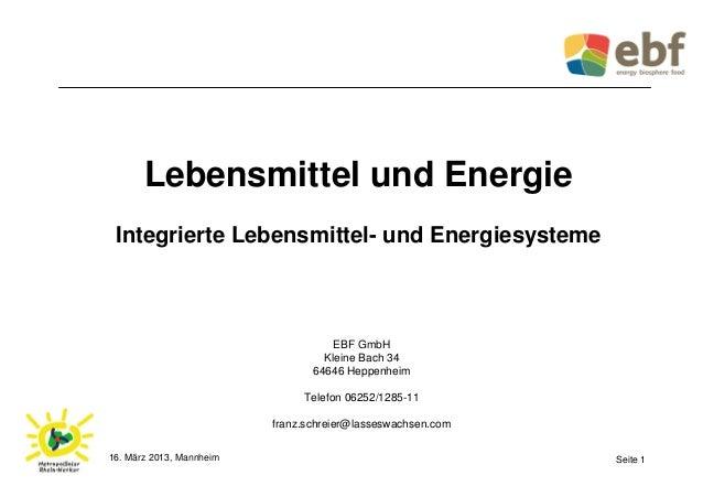 Lebensmittel und Energie Integrierte Lebensmittel- und Energiesysteme                                     EBF GmbH        ...
