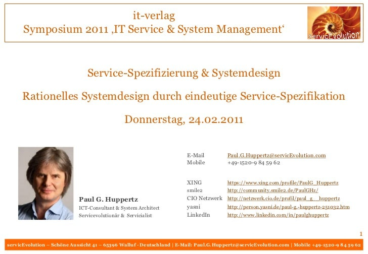 it-verlag      Symposium 2011 'IT Service & System Management'                               Service-Spezifizierung & Syst...