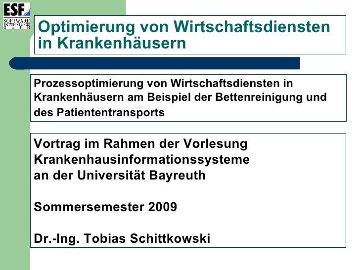 Optimierung von Wirtschaftsdiensten in Krankenhäusern  Prozessoptimierung von Wirtschaftsdiensten in Krankenhäusern am Bei...