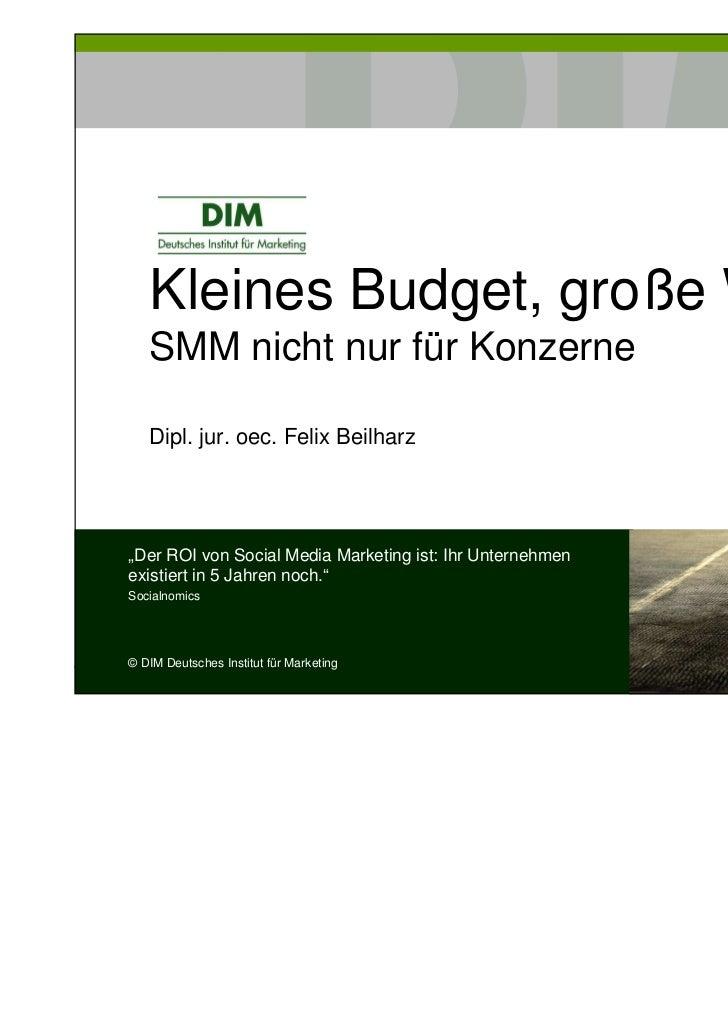 """Kleines Budget, große Wirkung   SMM nicht nur für Konzerne   Dipl. jur. oec. Felix Beilharz""""Der ROI von Social Media Marke..."""