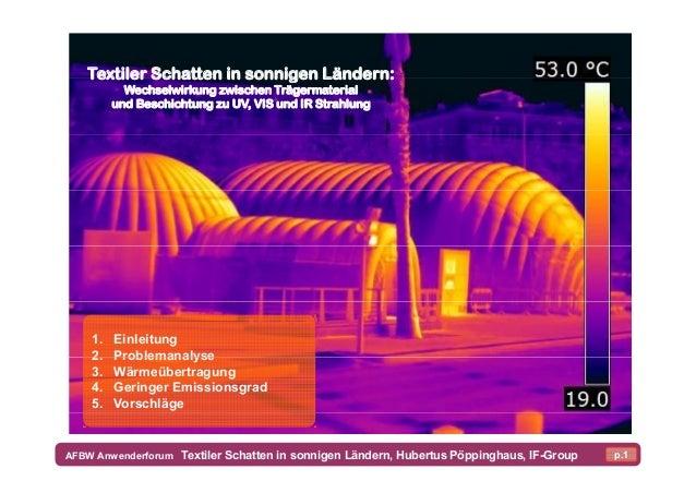 Textiler Schatten in sonnigen Ländern: Wechselwirkung zwischen Trägermaterial und Beschichtung zu UV, VIS und IR Strahlung...