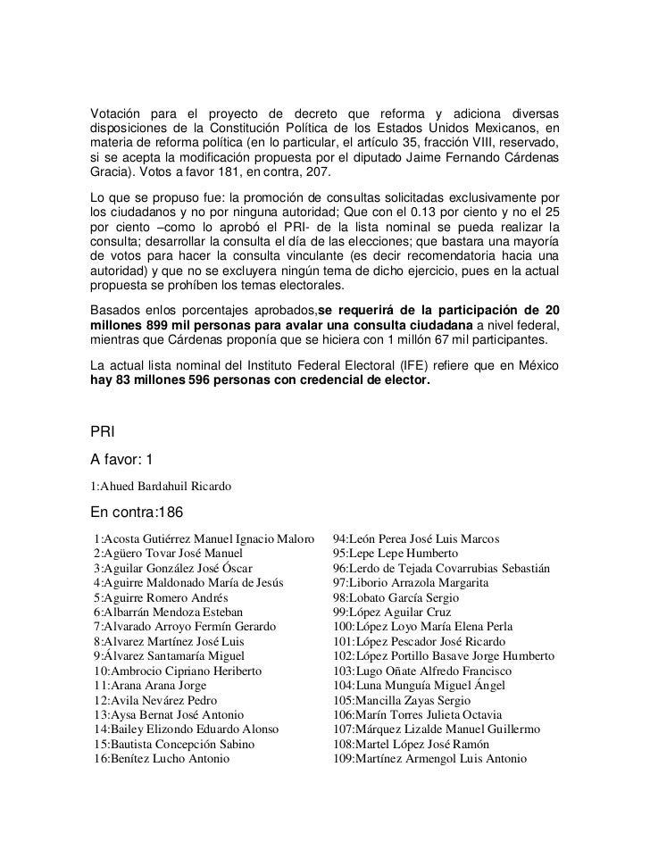Votación para el proyecto de decreto que reforma y adiciona diversasdisposiciones de la Constitución Política de los Estad...