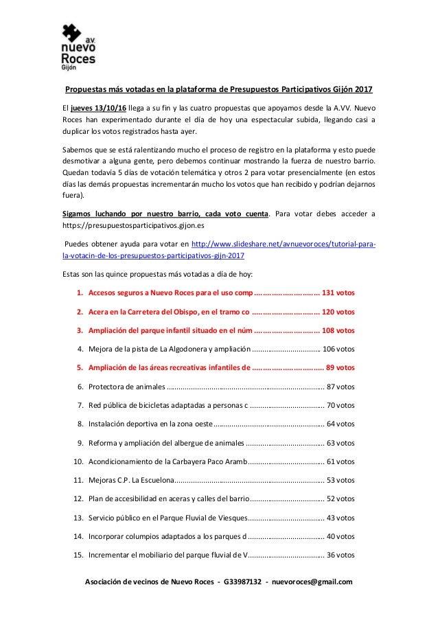 Asociación de vecinos de Nuevo Roces - G33987132 - nuevoroces@gmail.com Propuestas más votadas en la plataforma de Presupu...