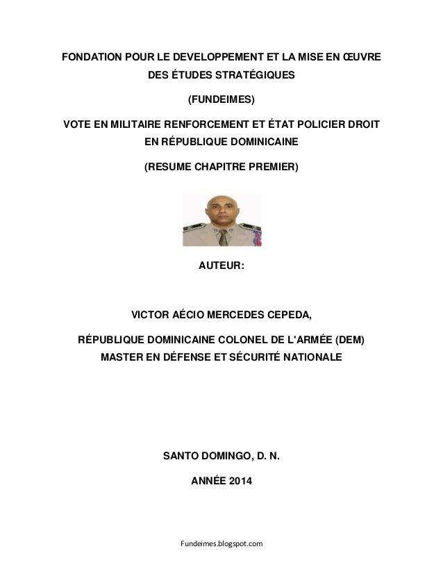 Fundeimes.blogspot.com FONDATION POUR LE DEVELOPPEMENT ET LA MISE EN ŒUVRE DES ÉTUDES STRATÉGIQUES (FUNDEIMES) VOTE EN MIL...