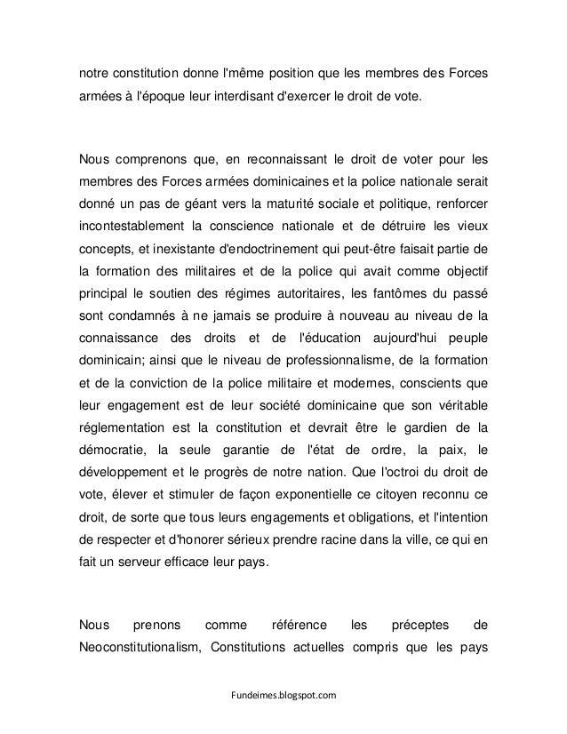Fundeimes.blogspot.com notre constitution donne l'même position que les membres des Forces armées à l'époque leur interdis...
