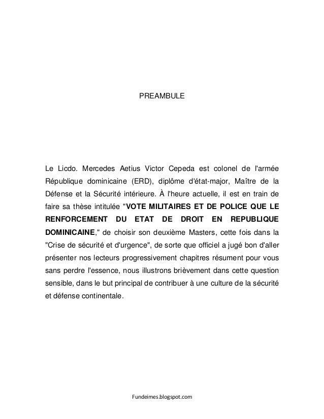 Fundeimes.blogspot.com PREAMBULE Le Licdo. Mercedes Aetius Victor Cepeda est colonel de l'armée République dominicaine (ER...
