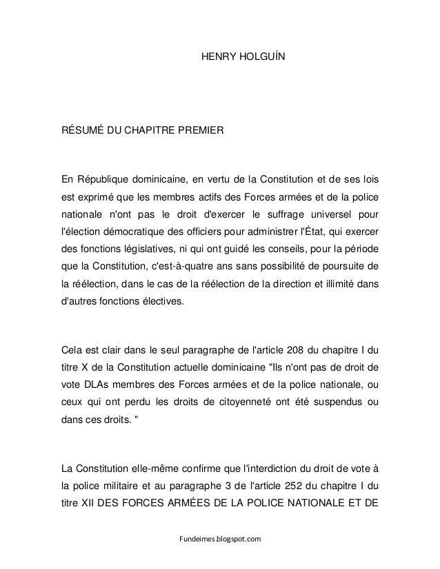 Fundeimes.blogspot.com HENRY HOLGUÍN RÉSUMÉ DU CHAPITRE PREMIER En République dominicaine, en vertu de la Constitution et ...