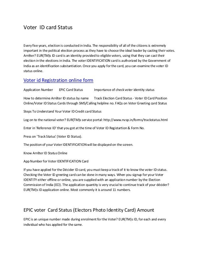 Voter id card status application