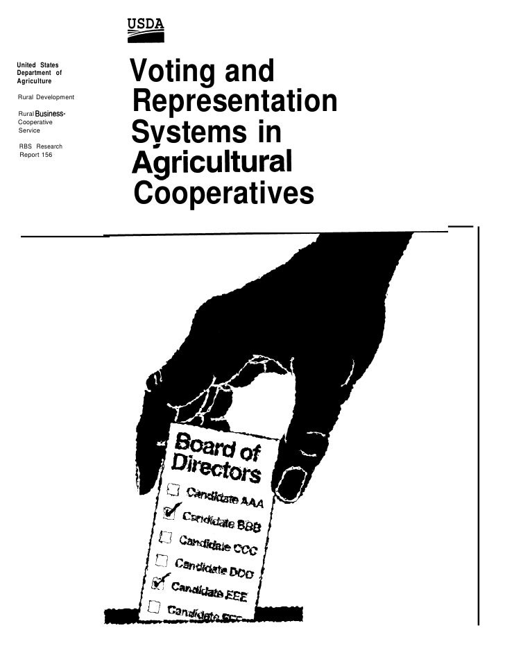 Voting And Representation Systems In Agricultural Cooperatives