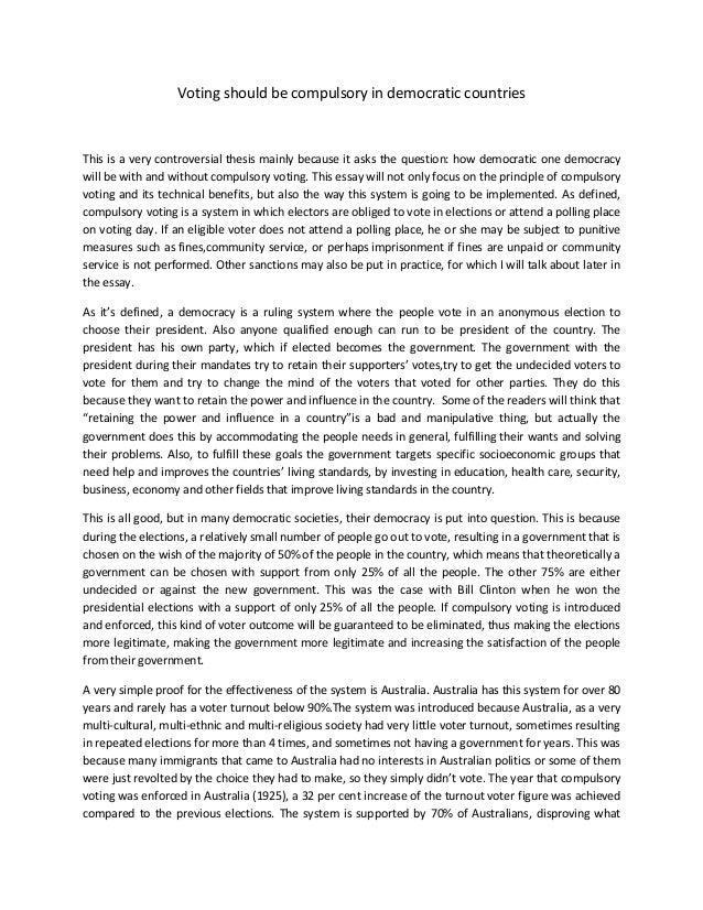 Compulsory voting argument essay