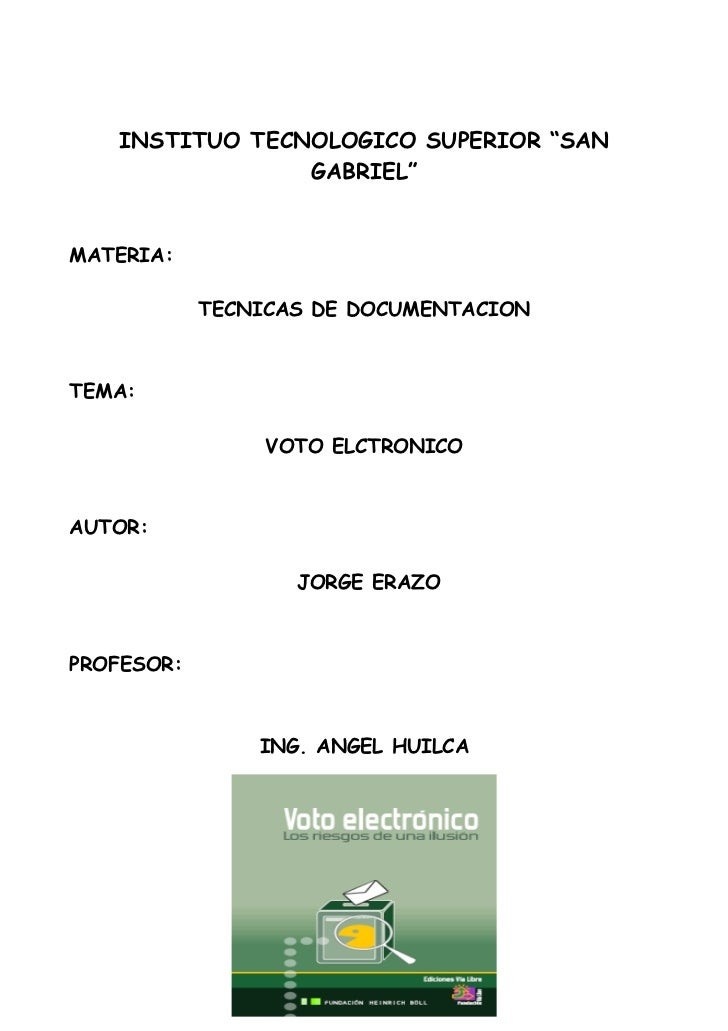 """INSTITUO TECNOLOGICO SUPERIOR """"SAN                GABRIEL""""MATERIA:            TECNICAS DE DOCUMENTACIONTEMA:              ..."""