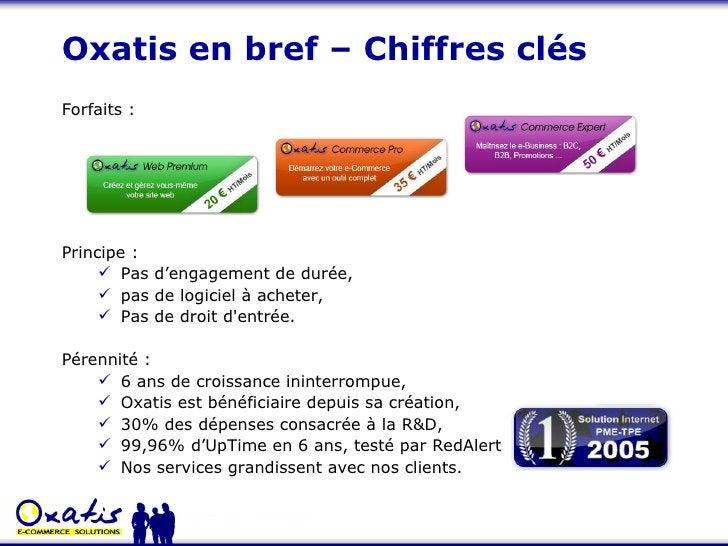Oxatis en bref – Chiffres clés <ul><li>Forfaits : </li></ul><ul><li>Principe :  </li></ul><ul><ul><li>Pas d'engagement de ...