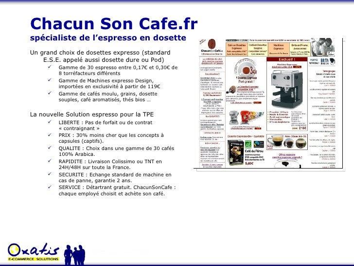 Chacun Son Cafe.fr  spécialiste de l'espresso en dosette <ul><li>Un grand choix de dosettes expresso (standard E.S.E. appe...