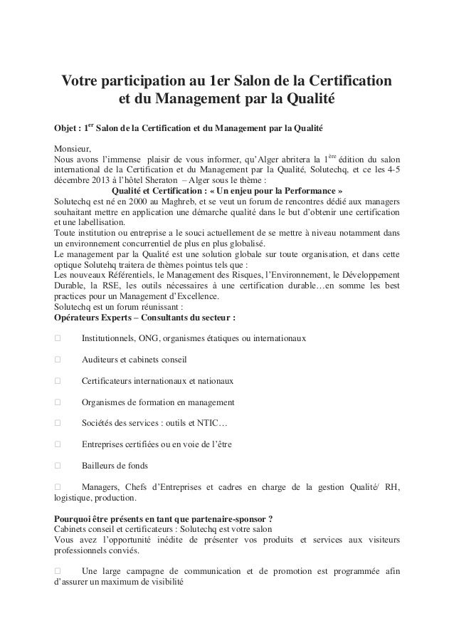 Votre participation au 1er Salon de la Certificationet du Management par la QualitéObjet : 1erSalon de la Certification et...