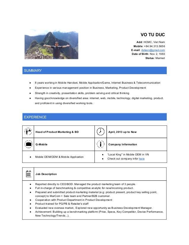 VOTUDUC  Add:HCMC,VietNam Mobile:+84.94.313.5656 E-mail:4xteen@gmail.com DateofBirth:Nov2,19...
