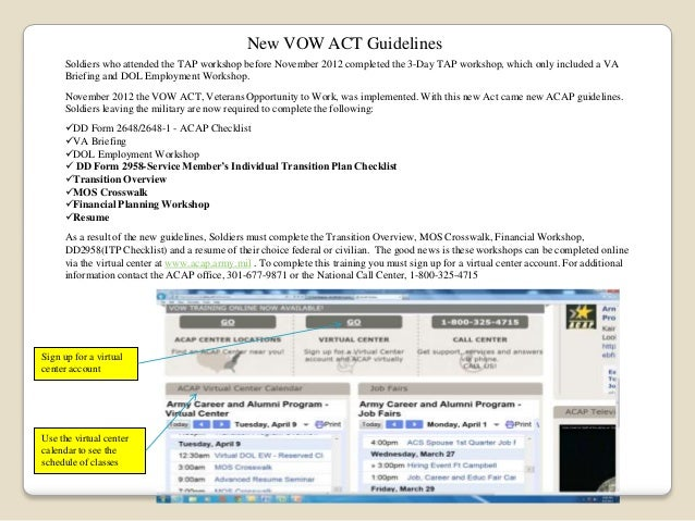 New VOW ACT Guidelines Soldiers who attended the TAP workshop before November 2012 completed the 3-Day TAP workshop, which...