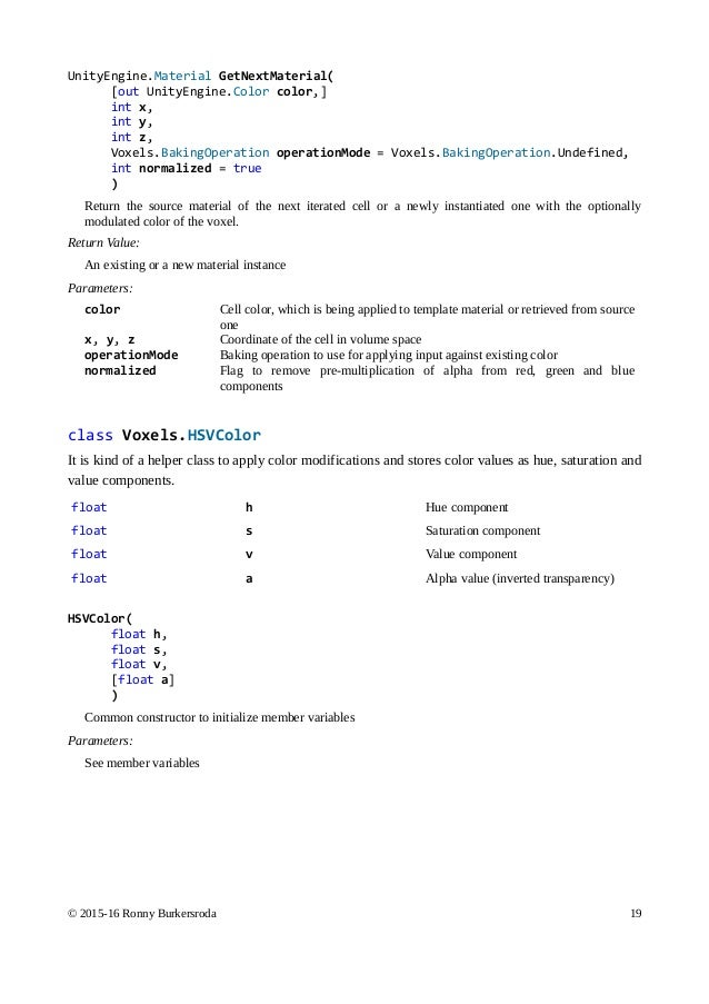 Voxels for Unity: Rasterizer manual (1 05)