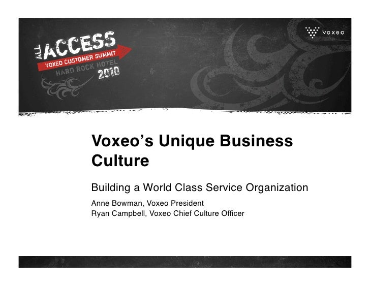Voxeo's Unique Business Culture Building a World Class Service Organization Anne Bowman, Voxeo President Ryan Campbell, Vo...