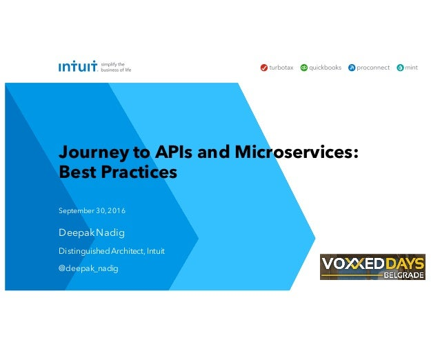 Deepak Nadig Distinguished Architect,Intuit @deepak_nadig September 30,2016 Journey to APIs and Microservices: Best Practi...