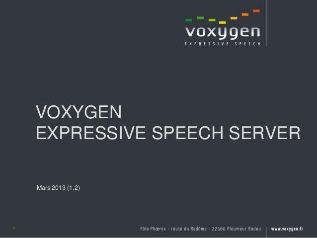 VOXYGEN    EXPRESSIVE SPEECH SERVER    Mars 2013 (1.2)1