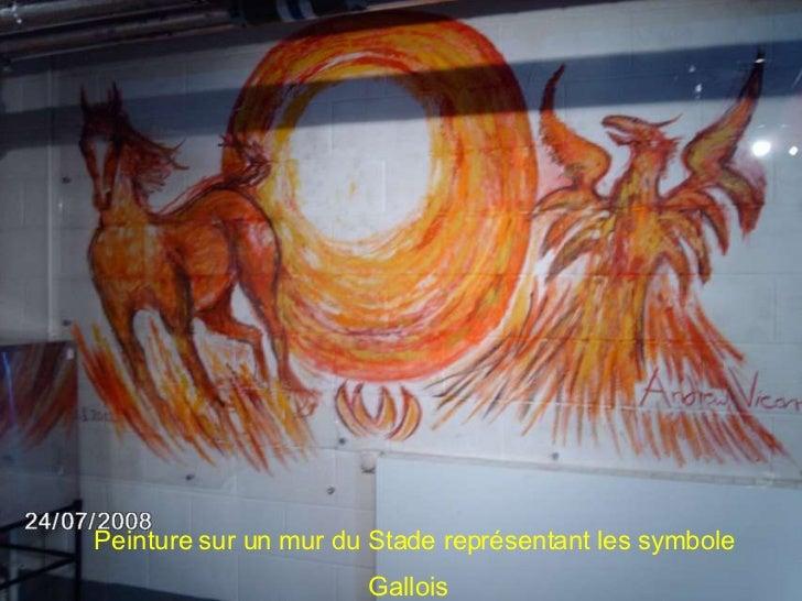 Peinture sur un mur du Stade représentant les symbole Gallois