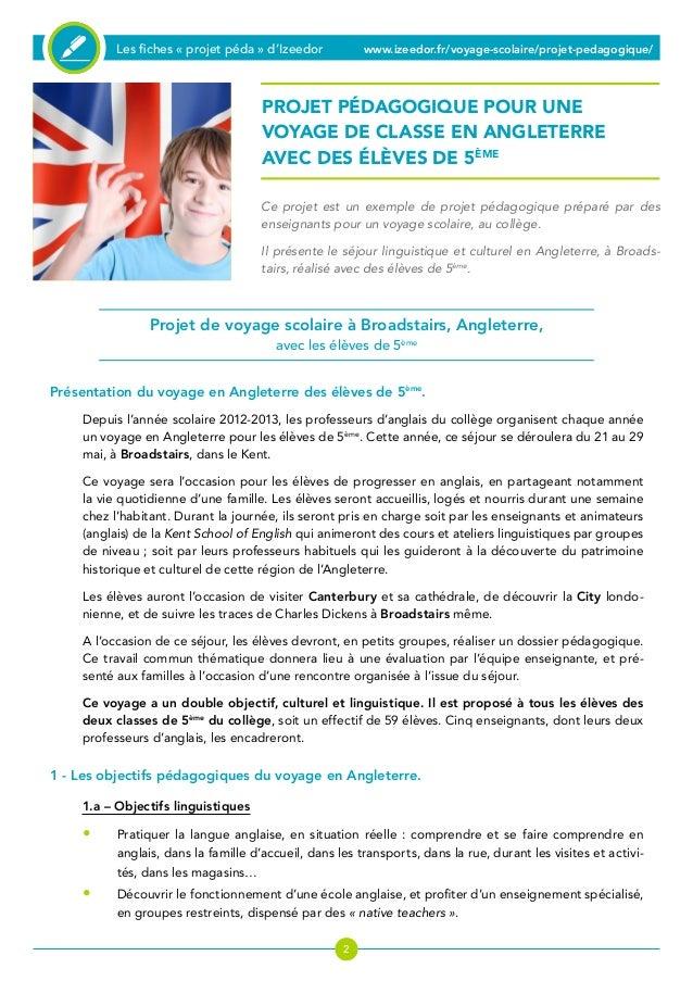Dossier Pedagogique Pour Un Voyage Scolaire En Angleterre Avec Des El