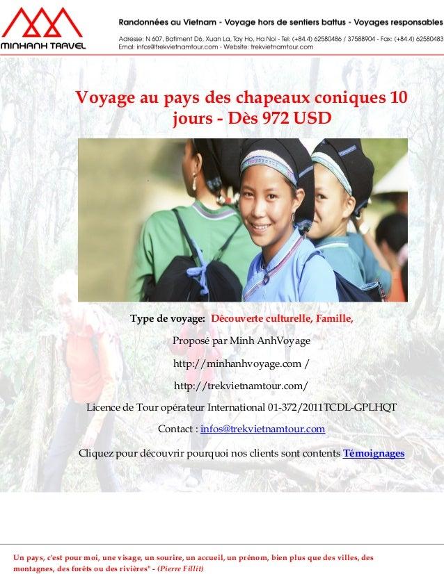 Voyage au pays des chapeaux coniques 10jours - Dès 972 USDType de voyage: Découverte culturelle, Famille,Proposé par Minh ...