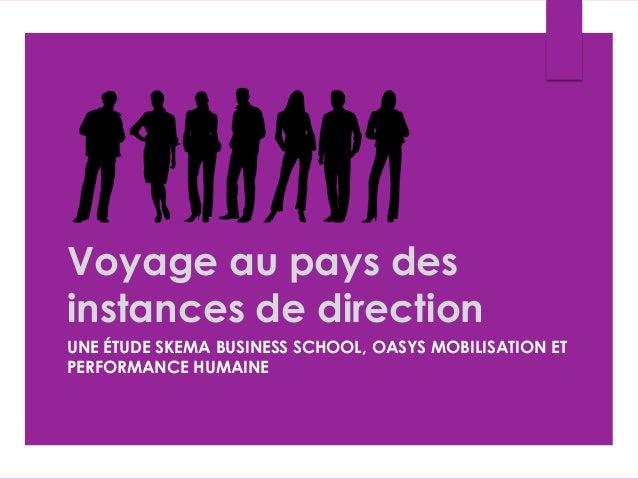 Voyage au pays des instances de direction UNE ÉTUDE SKEMA BUSINESS SCHOOL, OASYS MOBILISATION ET PERFORMANCE HUMAINE