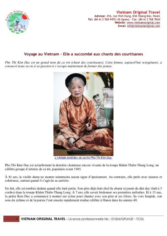 Vietnam Original Travel                                                                      Adresse: 416, rue Vinh Hung, ...