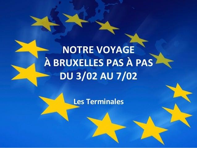 NOTRE  VOYAGE     À  BRUXELLES  PAS  À  PAS     DU  3/02  AU  7/02      Les  Terminales