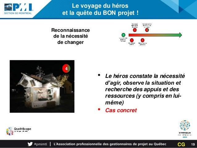 Le voyage du héros et la quête du BON projet ! 4 Reconnaissance de la nécessité de changer • Le héros constate la nécessit...
