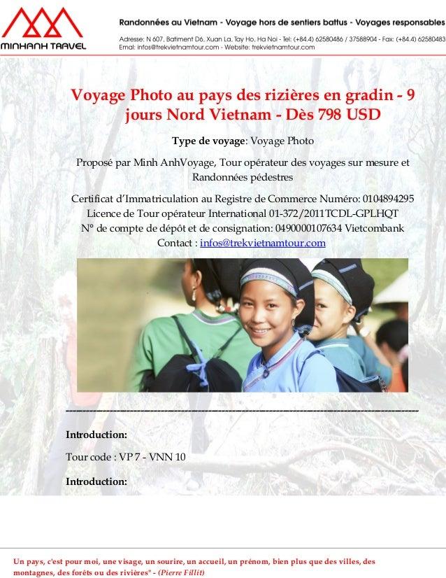Voyage Photo au pays des rizières en gradin - 9jours Nord Vietnam - Dès 798 USDType de voyage: Voyage PhotoProposé par Min...