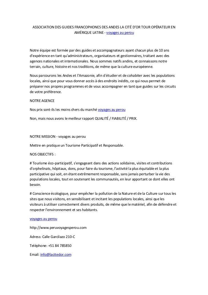 ASSOCIATION DES GUIDES FRANCOPHONES DES ANDES LA CITÉ D'OR TOUR OPÉRATEUR EN                        AMÉRIQUE LATINE - voya...