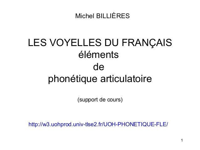 Michel BILLIÈRES  LES VOYELLES DU FRANÇAIS éléments de phonétique articulatoire (support de cours)  http://w3.uohprod.univ...