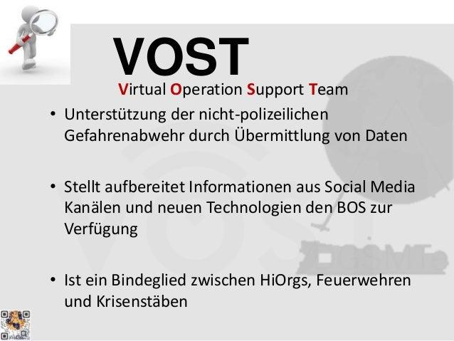 VOSTVirtual Operation Support Team • Unterstützung der nicht-polizeilichen Gefahrenabwehr durch Übermittlung von Daten • S...