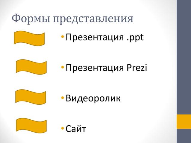 Формы представления •Презентация .ppt •Презентация Prezi •Видеоролик •Сайт